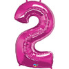 Number 2 Foil Balloon Pink