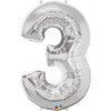 Number 3 Foil Balloon Silver