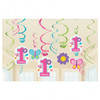 Sweet 1st Birthday Girl Hanging Swirls Decorations