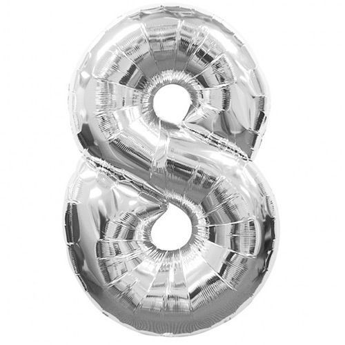 Number 8 Foil Balloon Silver
