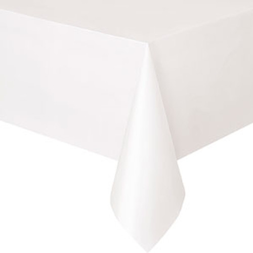 White Plastic  Tablecover (137x274cm)