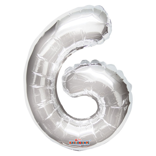 Silver Number 6 Air-Filled Foil Balloon (14inch)