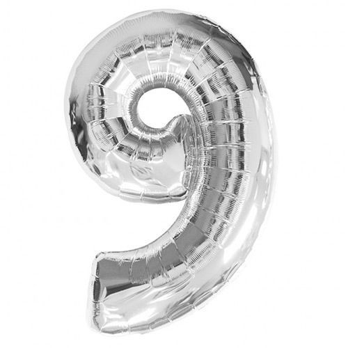 Number 9 Foil Balloon Silver