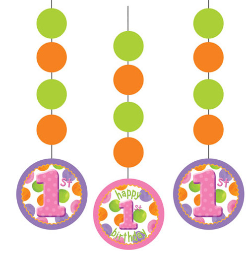 1st Birthday Girl Dots 3 Hanging Cutouts 17cm
