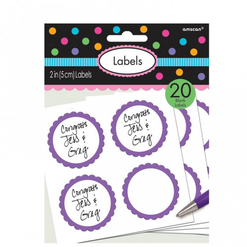 Candy Buffet Scalloped Labels Purple (20)