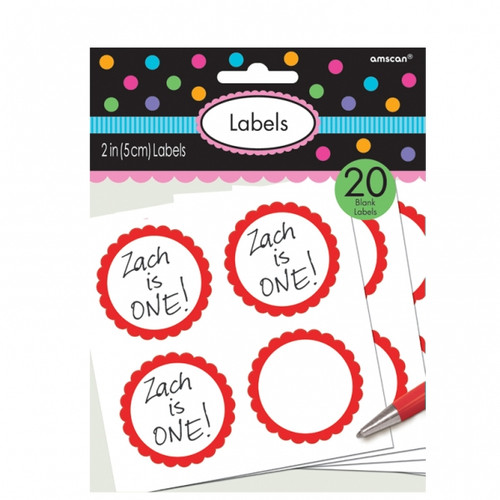 Candy Buffet Scalloped Labels Apple Red (20)