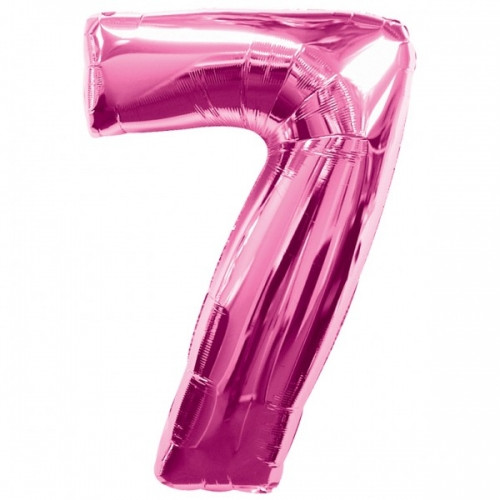 Number 7 Foil Balloon Pink