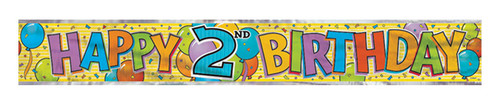 2nd Happy Birthday Foil Banner 12ft