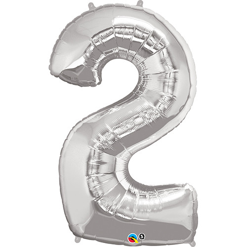 Number 2 Foil Balloon Silver