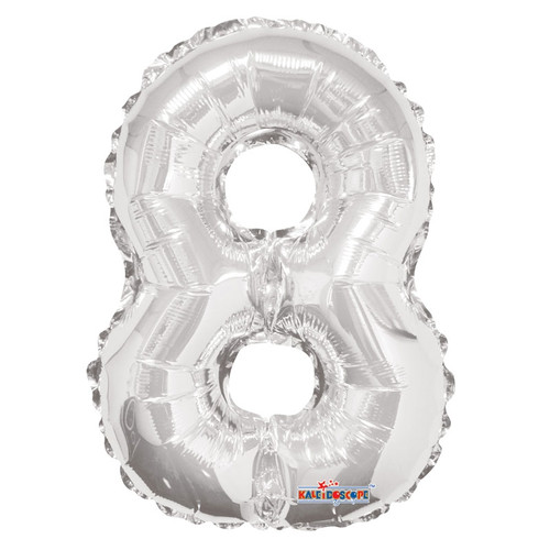 Silver Number 8 Air-Filled Foil Balloon (14inch)