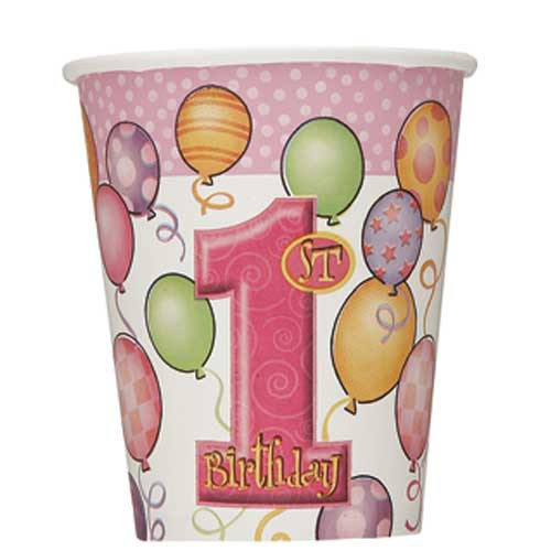 1st Birthday Pink Balloons Value Theme Cups (8)
