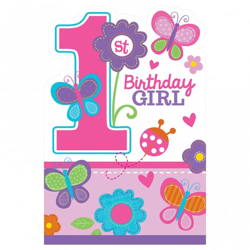 Sweet 1st Birthday Girl Die-Cut Invitations and Envelopes (8)