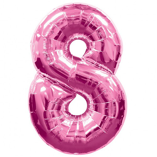 Number 8 Foil Balloon Pink
