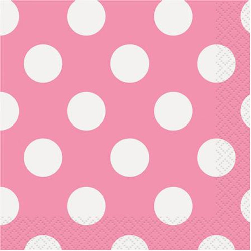 Powder Pink big dots Lunch napkins (16)