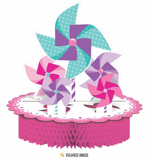 1st Birthday Pinwheel Girl Centerpiece (12x12in)