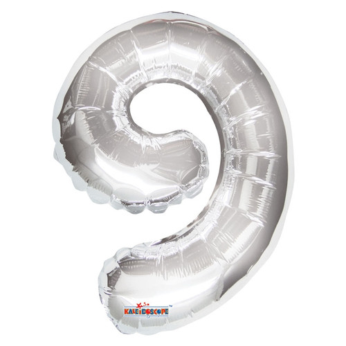 Silver Number 9 Air-Filled Foil Balloon (14inch)