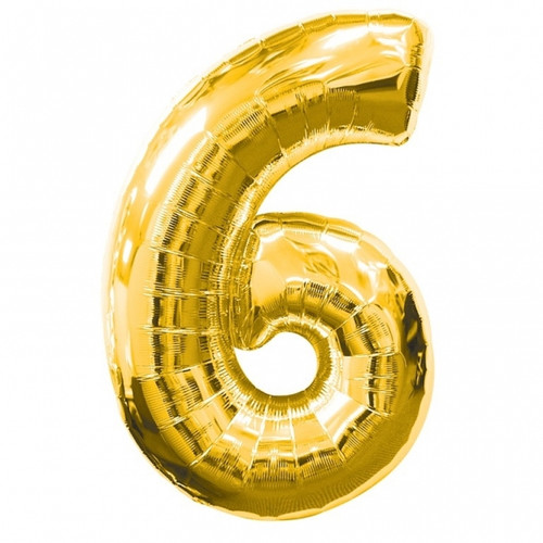 Number 6 Large Foil Balloon Gold (34in)