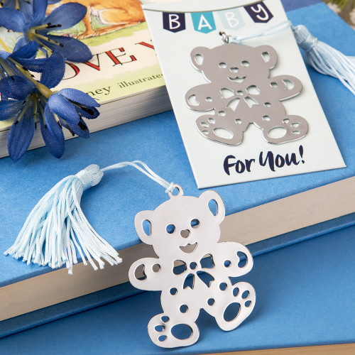 Teddy Bear Metal Book Mark Blue