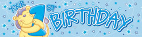 1st Birthday Cute Lion plastic Banner (2.6m long)