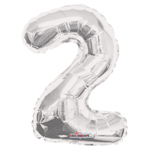 Silver Number 2 Air-Filled Foil Balloon (14inch)