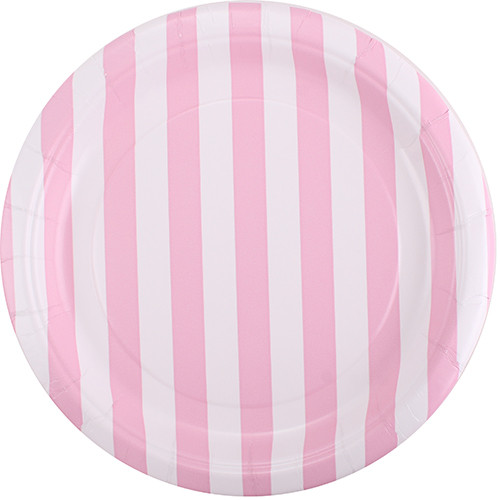 Powder Pink Striped Dessert Plates (8)