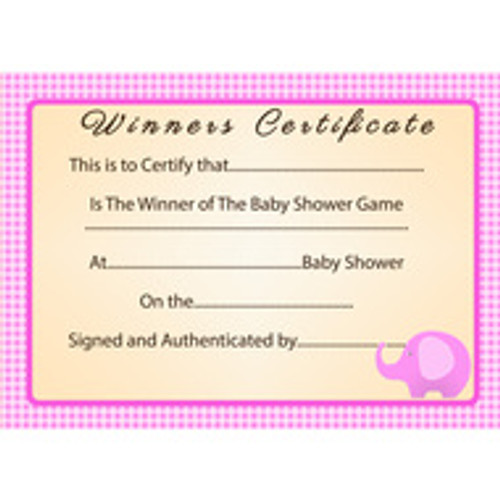 Baby Shower Pink Elephant Winner Certificate