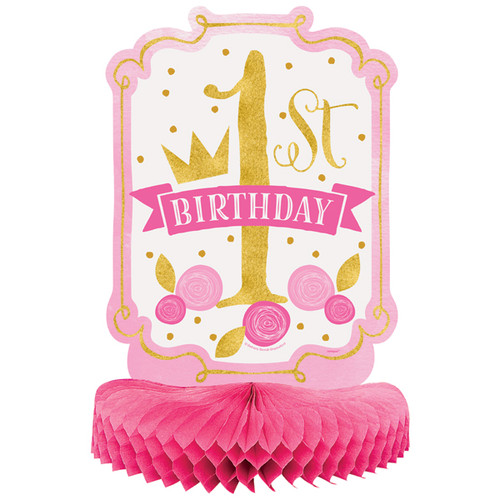 Pink and Gold 1st Birthday Centerpiece