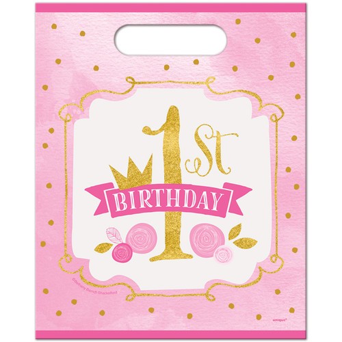 Pink and Gold 1st Birthday Treat Bags (8)
