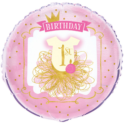 Pink and Gold 1st Birthday Foil Balloon