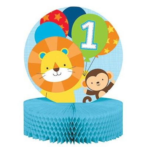 Fun is One boy honeycomb centerpiece