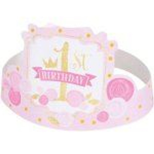 1st birthday pink and gold party hats (6)