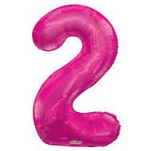 Magenta Number 2 Air-Filled Foil Balloon (14inch)