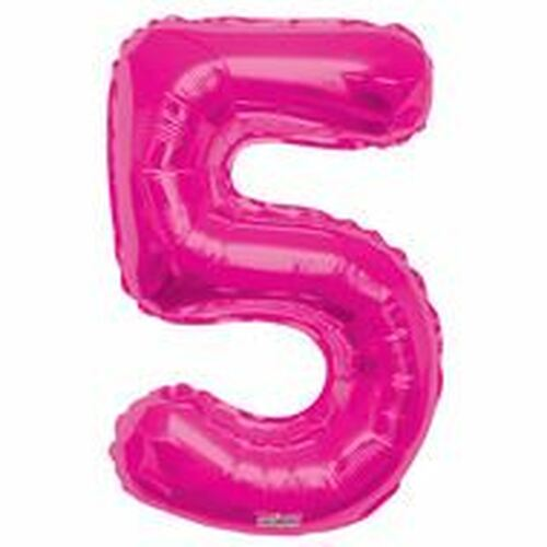 Magenta Number 5 Air-Filled Foil Balloon (14inch)