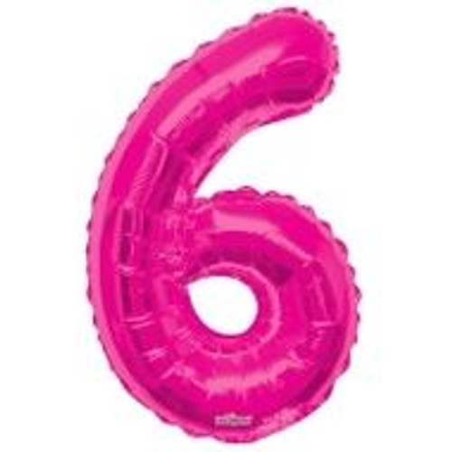 Magenta Number 6 Air-Filled Foil Balloon (14inch)