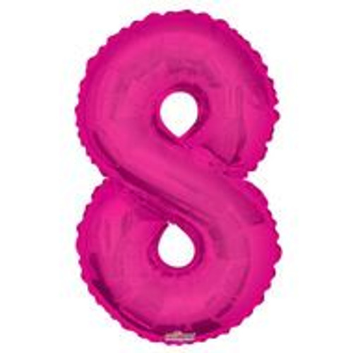 Magenta Number 8 Air-Filled Foil Balloon (14inch)