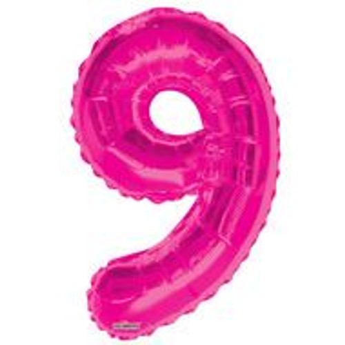 Magenta Number 9 Air-Filled Foil Balloon (14inch)