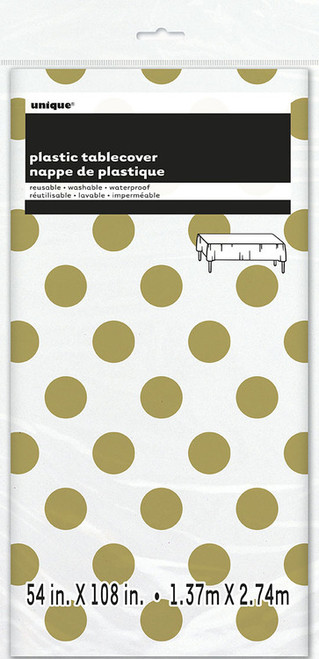 Gold polka dot tablecover