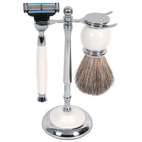 3012 Mach 3 Shave Set White w/Badger