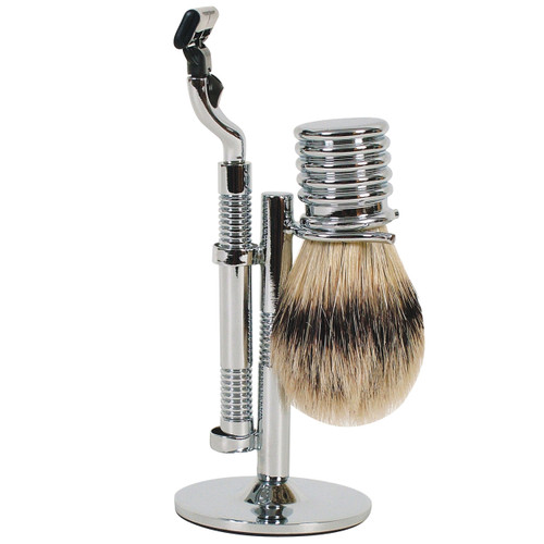 3025 Mach 3 Chrome Shave Set w/Bristle