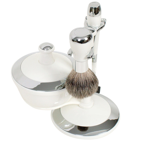 WG Mach 3 Shave Set w/Bowl - White/Chrome