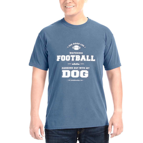 Dog and Football Comfort Colors T-shirt