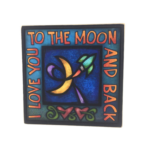 Wood Art Sign-Love you to the moon and back