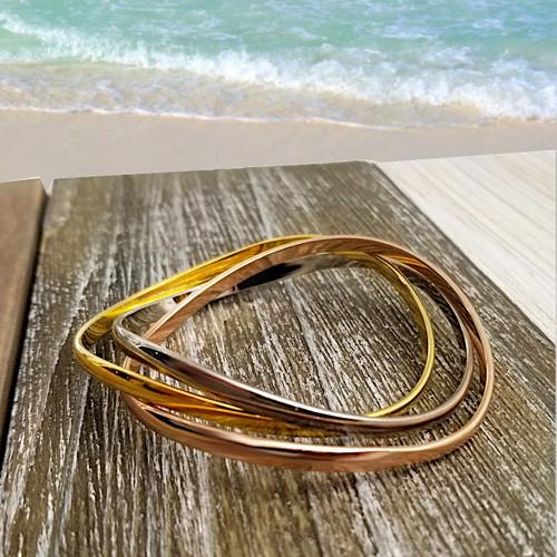 Interlocking Bracelet, Mixed Metals