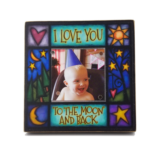 Wood Art Small Frame - I love you to the moon and back