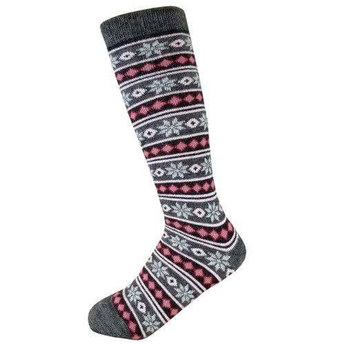 Alpaca Socks - Charcoal and Red Starry Stripes