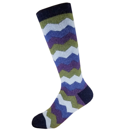 Alpaca Socks - Blue, Purple and Olive Mountain Stripes