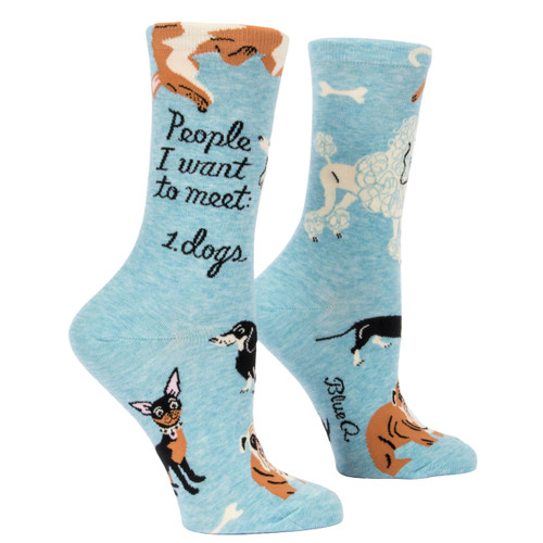 Women's Crew Sock - People I want to meet: 1. dogs