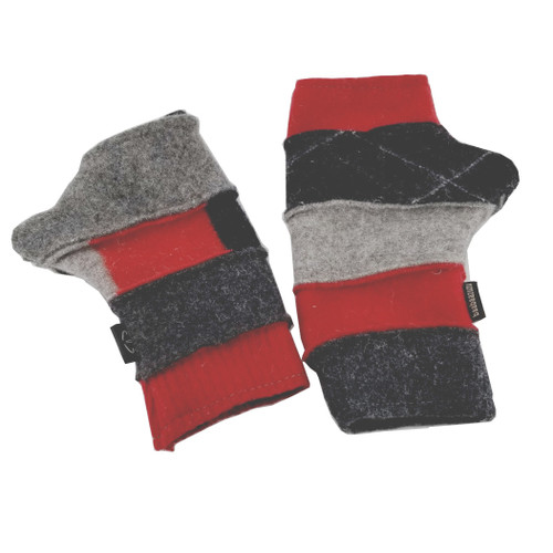 Upcyled Fingerless Gloves - Red, Black, Grey