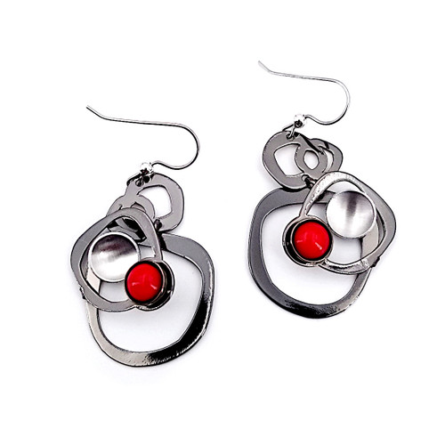 Christophe Poly Red Circle Earrings