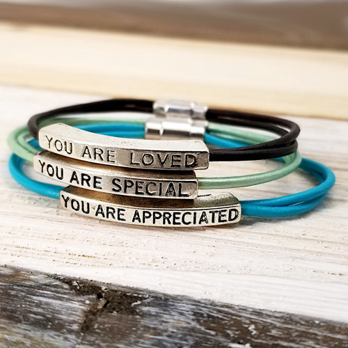 Leather Affirmation Bracelets